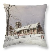 Winter Scene With Figures On A Path Near A Church Throw Pillow