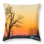 Winter Season Country Sunset Throw Pillow
