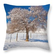 Winter Season On The Plains Portrait Throw Pillow