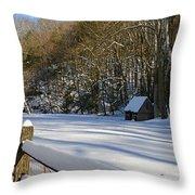 Winter Shack Throw Pillow