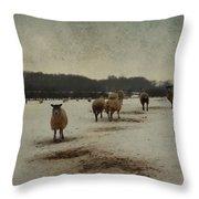 Winter Sheep Throw Pillow