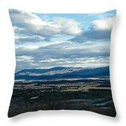 Winter Shenandoah River View Throw Pillow by Lara Ellis