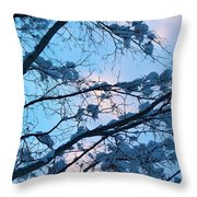 Winter Sky And Snowy Japanese Maple Throw Pillow