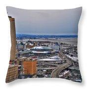 Winter Skyway Downtown Buffalo Ny Throw Pillow