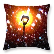 Winter Snow Storm At Night Throw Pillow