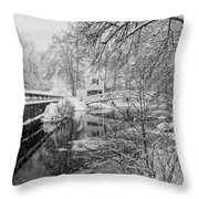 Winter Snow Storm In Somesville Maine Throw Pillow