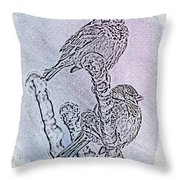 Winter Sparrows 1 Throw Pillow by Betty LaRue
