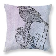 Winter Sparrows 2 Throw Pillow