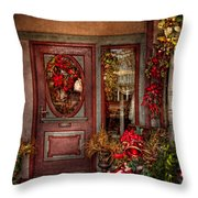 Winter - Store - Metuchen Nj - Dressed For The Holidays Throw Pillow by Mike Savad