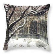 Winter Storm At The Cloisters 3 Throw Pillow