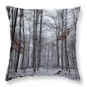Winter Storm In The Forest Throw Pillow
