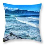 Winter Storm Surf At Ho'okipa Maui Throw Pillow