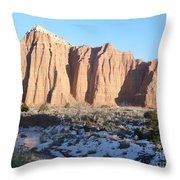 Winter Stream In Cathedral Valley Throw Pillow