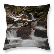 Winter Stream Tranquility Throw Pillow