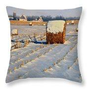 Winter Stubble Bales Throw Pillow