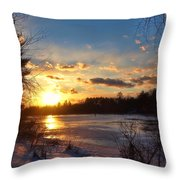 Winter Sundown Throw Pillow