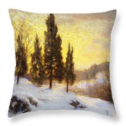 Winter Sundown Throw Pillow