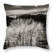 Winter Sunrise And Moonset Throw Pillow