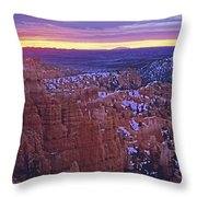 Winter Sunrise At Bryce Canyon Throw Pillow