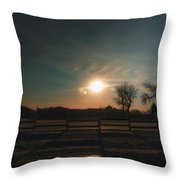 Winter Sunrise On The Farm 02 Throw Pillow