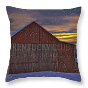 Winter Sunrise Over Dorothy's Barn. Throw Pillow