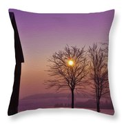 Winter Sunset Throw Pillow by Aged Pixel