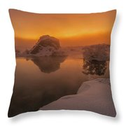 Winter Sunset And Fog Over Lake Myvatn Throw Pillow