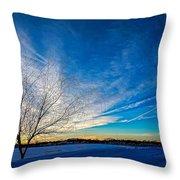 Winter Sunset At Diamond Lake Throw Pillow