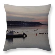 Winter Sunset On The Harbor Throw Pillow