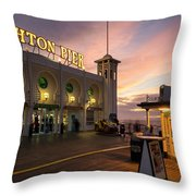 Winter Sunset Over Brighton Pier In England Throw Pillow