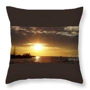 Winter Sunset Over Long Island Throw Pillow