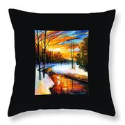 Winter Sunset - Palette Knife Oil Painting On Canvas By Leonid Afremov Throw Pillow