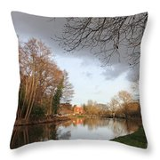 Winter Sunshine On The Wey Canal Surrey Uk Throw Pillow