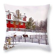 Winter Thoroughbreds Throw Pillow