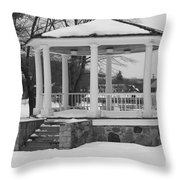 Winter Time Gazebo Throw Pillow