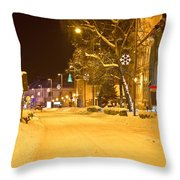 Winter Time Street Scene In Krizevci Throw Pillow