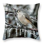 Winter Titmouse Throw Pillow