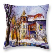 Winter Town - Palette Knife Oil Painting On Canvas By Leonid Afremov Throw Pillow