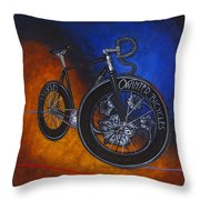Winter Track Bicycle Throw Pillow