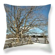 Winter Tree And Fence Throw Pillow
