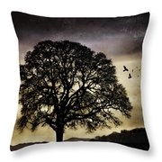 Winter Tree And Ravens Throw Pillow