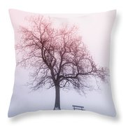 Winter Tree In Fog At Sunrise Throw Pillow by Elena Elisseeva