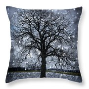 Winter Tree In Snowfall Throw Pillow