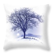 Winter Tree On Hill  Throw Pillow