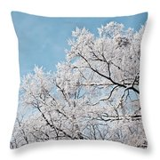 Winter Tree Scene Throw Pillow