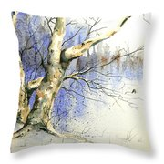 Winter Tree With Birds Throw Pillow