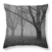 Winter Trees In The Mist Throw Pillow by Georgia Fowler