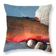 Winter Trout Throw Pillow