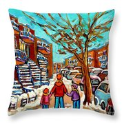 Winter Walk Montreal Paintings Snowy Day In Verdun Montreal Art Carole Spandau Throw Pillow