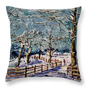 Winter Walk Throw Pillow by Vickie Warner